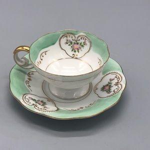 UCAGCO china green gold floral tea cup & saucer